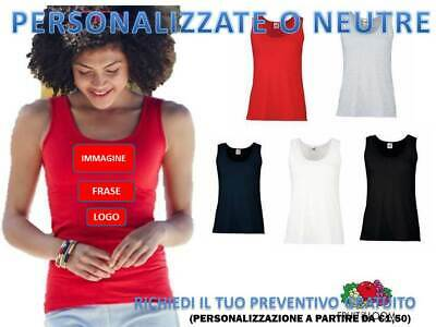 Canotta Canottiera Donna Fruit Of The Loom T-Shirt Senza Maniche Smanica