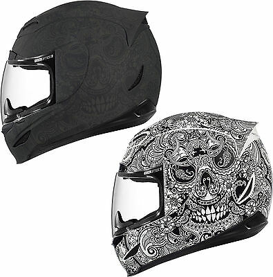 *SHIPS NEXT DAY* ICON Airmada Chantilly Motorcycle Helmet (Black or White)