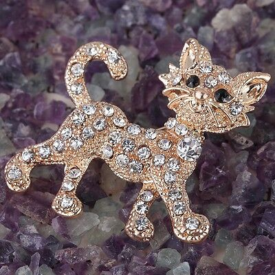 Lovely Gold Plated Full Rhinestone Crystal Cat Brooch Pin Party Jewelry Gift