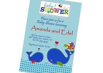 Ahoy Whale Baby Shower Invitation 24hr Service UPRINT 4x6 or 5x7