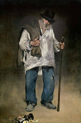 """Art Oil painting male portrait old man Beggar holding bag in the street 24""""x36"""""""