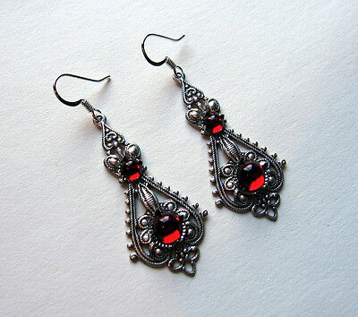 Gothic VICTORIAN Filigree RENAISSANCE Medieval Elf ELVEN Earrings Silver