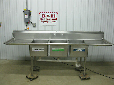 "103"" Stainless Steel 3 Bowl 17"" x 23"" Compartment Sink w/ 2 Drain Boards  8' 7"""