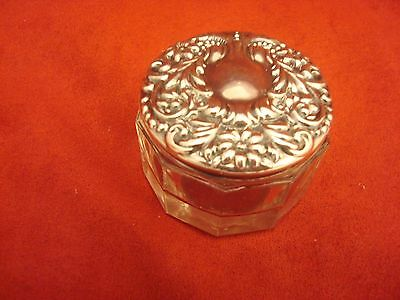 Cosmetic Jar with Art Nouveau Sterling  Silver Lid
