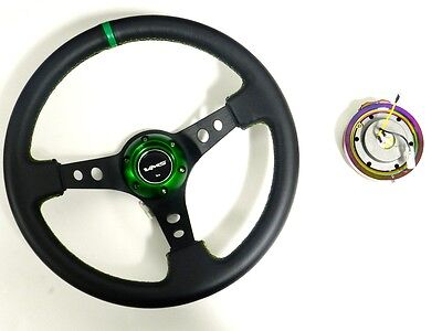 VMS RACING UNIVERSAL GREEN STEERING WHEEL & NEO CHROME QUICK RELEASE KIT D2