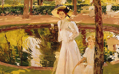 No framed oil painting portraits nice young woman & her little daughter in view