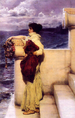 Art Oil painting Lawrence Alma-Tadema - Hero young woman by the sea in sunset