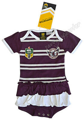 Manly Sea Eagles NRL Girls Toddler Baby Footysuit Bodysuit 'Select Size' 000-2