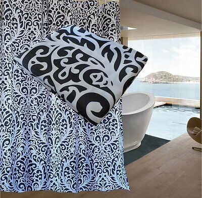 FREE SHIPPING Black White Damask Pattern Shower Curtain 2m Long New
