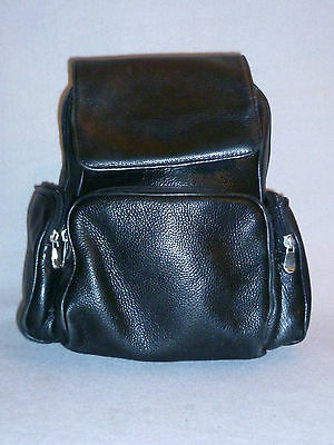 Vintage Made In Columbia Black Leather Tote Purse Backpack School Work Bag