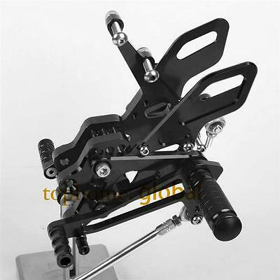 Black CNC Adjusting Rearset Footpegs Rear Set For Kawasaki Ninja ZX10R 2004-2005