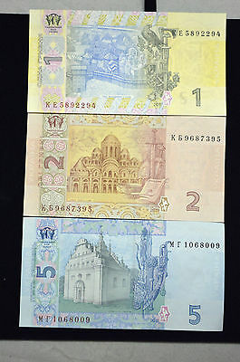 Set Of Three (3) Ukraine 1,2 & 5 Hryvnia  Foreign Paper Money Banknote Currency