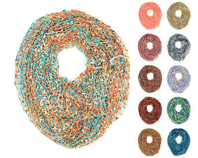 "64"" Wide Crochet Confetti Infinity Spring Summer Scarf Knit Multi Color Loop"