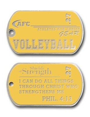 """PHILIPPIANS 4:13 Volleyball Dog Tag Shields of Strength 24"""" Chain BRAND NEW"""