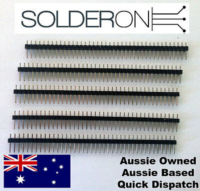 """40 Pin Male Header (5 Pack) Breakable - 0.1"""" 2.54mm Pitch - AU STOCK"""