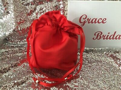 RED  DUCHESS SATIN DOLLY BAG BRIDAL BRIDESMAID PROM FLOWER GIRL *free samples**