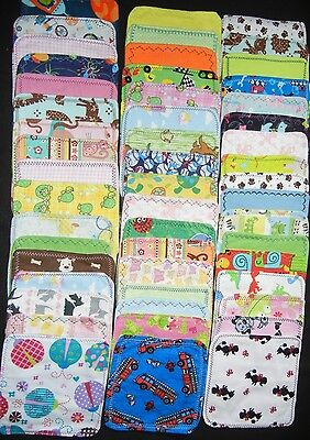 5  handmade cloth wipes/washcloths double flannel