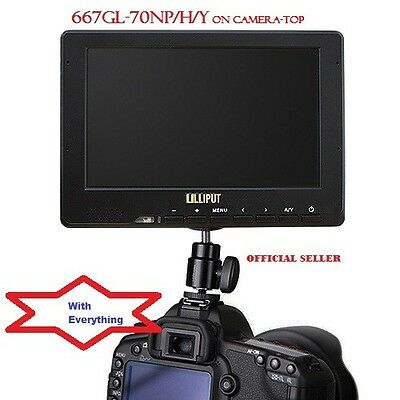 """Lilliput 7"""" 667GL-70NP/H/Y On Camera HDMI field Monitor + LP-E6 Battery for 5D"""