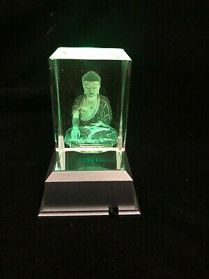 Flying Pegasus - 3D Laser Etched Crystal Block With 4 Lights LED Light base