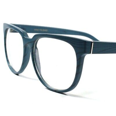 New Trendy Clubbing Wood Effect Frame Clear Lens Mens Womens Party Glasses A86E