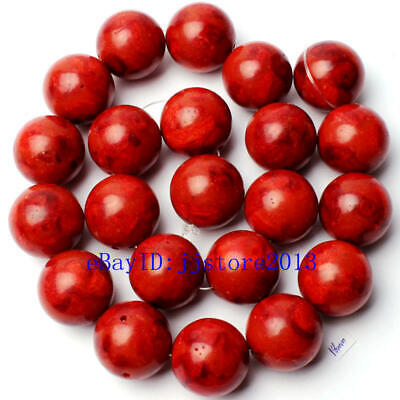 18mm Pretty Natural Red Sponge Coral Round Shape Gemstone Loose Beads Strand 15""