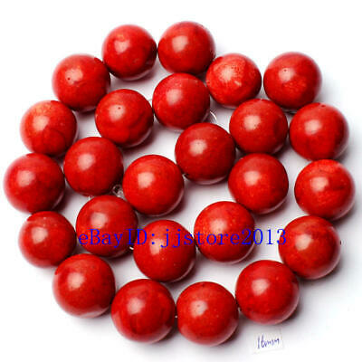 16mm Pretty Natural Sponge Red Coral Round Shape Gemstone Loose Beads Strand 15""