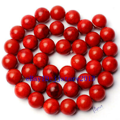 """10mm Pretty Natural Sponge Red Coral Round Shape Gemstone Loose Beads Strand 15"""""""