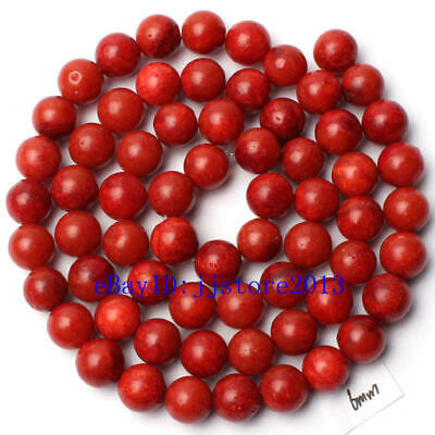 """6mm Pretty Natural Sponge Red Coral Round Shape Gemstone Loose Beads Strand 15"""""""