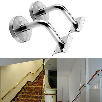 2X Handrail Stair Wall Brackets Hand Rail Bracket Bannister Support Stair