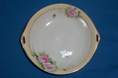 """Nippon Handled Candy Dish Bowl w/ Roses & Gold Trim 6"""" Nice!"""