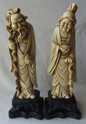 """Gorgeous Pair Of Vintage Chinese Old Man & Woman Statues Figurines 11-1/2"""" T"""