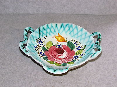 Italian Hand-Painted Floral Ceramic Candy Dish