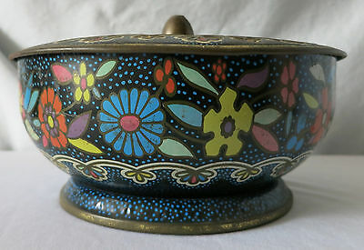 Vintage Floral Tin With Embossed Lid, Container Made In England