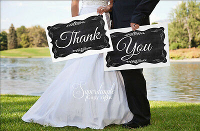 Black chalkboard Vintage shabby Chic Thank you sign photo booth props wedding -3
