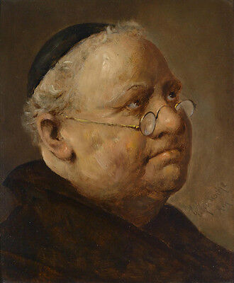Oil painting male portrait fat old man with glasses handpainted free shipping