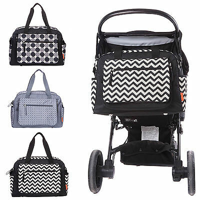 Designer Luxury Baby Nappy Changing Bag Set Diaper Bag Black Grey