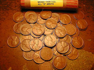 "Lincoln Wheat Cent Penny Roll Mixed Thirties, All ""S"" Mints!!"