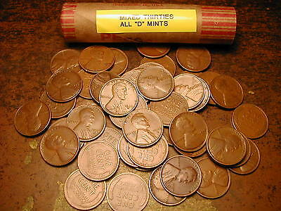 "LINCOLN WHEAT CENT PENNY ROLL MIXED THIRTIES ALL /""D/"" MINTS!!"