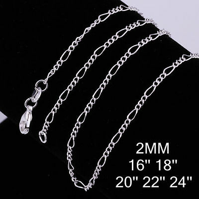 """New Figaro Silver Chain Necklace 2mm 16"""" 18"""" 20"""" 22"""" 24"""" Wholesale JobLot"""