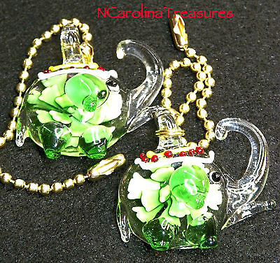 Art Glass Ceiling Fan Chain Light Switch Pull Green Floral Elephant Large Pair