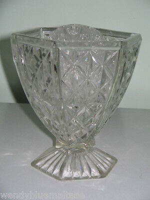 Vintage Circa 1930's 6 Side Stem Clear Glass Vase + Frog 13.25cm Tall 12.5cmTop