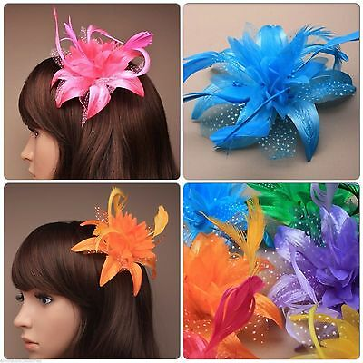 Feather Flower Fascinator On A Beak Forked Hair Clip With Brooch Pin