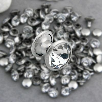 200 Sets 4mm CZ Crystals Rhinestone Rivets Rapid Silver Nailhead Spots Studs DIY