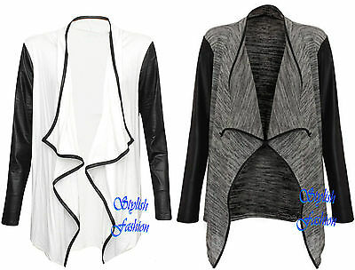 New Womens WetLook PU PVC Arms Long Sleeve Ladies Waterfall Cardigan Blazer Top