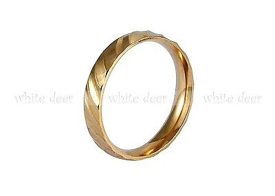 3 mm Men's Women's Stainless Steel Gold Engagement Wedding Band Ring Comfort Fit