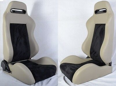 New 2 Gray & Black Racing Seats Reclinable W/ Slider All Acura