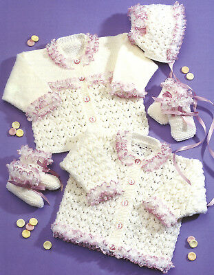 (698) Baby/ Girls Cardigans Bonnet Bootees & Mitts Dk Knitting Pattern, 16-24''