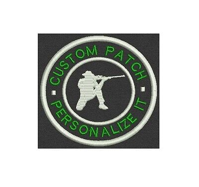 """Hunter Custom Embroidered Name Tag, Patch, badge 3.5"""" Iron on"""