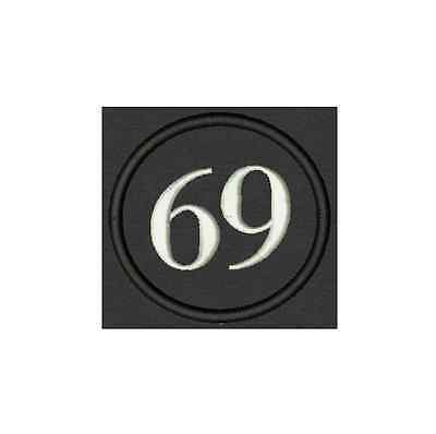 Customizable Embroidred Patch for Biker number 69 Circle Badge, Tag,