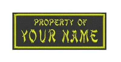 "Name tag, Custom Embroidered Ribbon, Biker Patch Rectangle 6"" x 2"" - Property of"